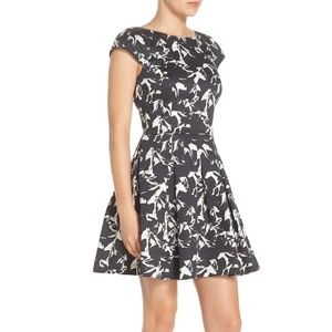 Hatched Horses Fit & Flare Dress